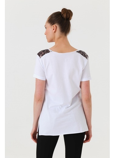Jument Lycrasız Pamuk Pul Garnili Cepli Duble Kol Bluz Beyaz